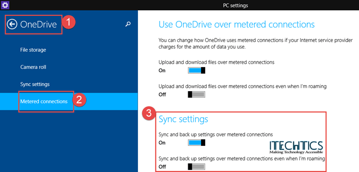 Metered Connection - OneDrive Settings