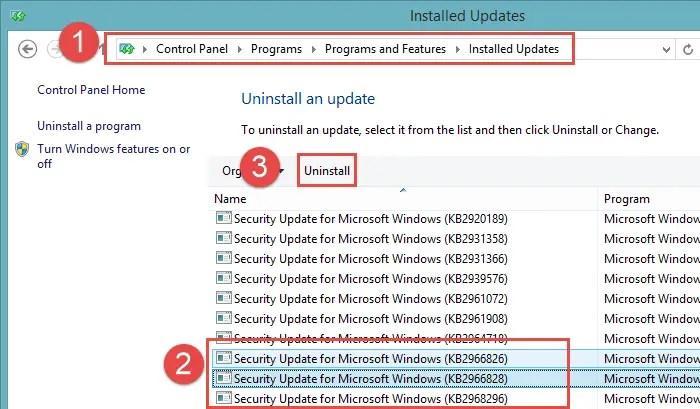 .NET Framework 3.5 uninstalling Windows Updates