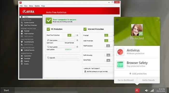 avira free antivirus.