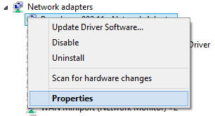 Right click device in device manager