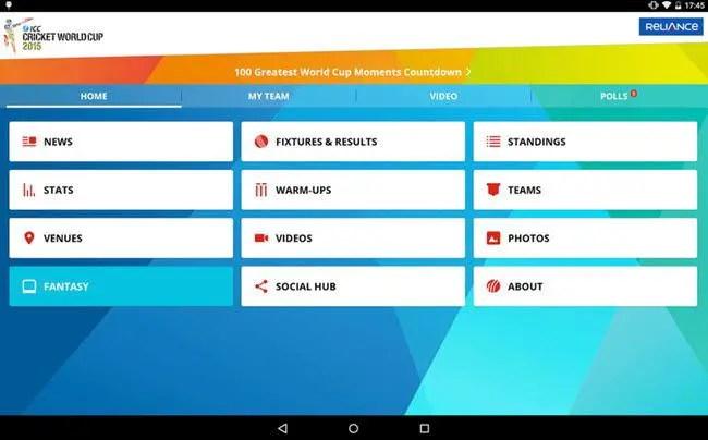 Cricket World Cup 2015 app