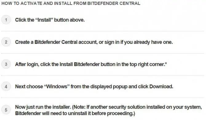 Bitdefender Central download instructions