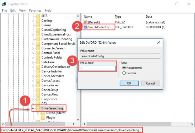Disabling driver updates from Windows Registry