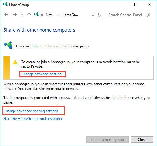 HomeGroup settings for changing network type - 4 Ways To Change Network Type In Windows 10 (Public, Private or Domain)