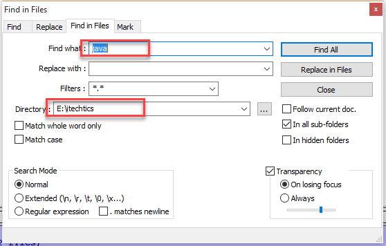 2 19 - How to Use Notepad++ to Find Text in All Files of a Folder