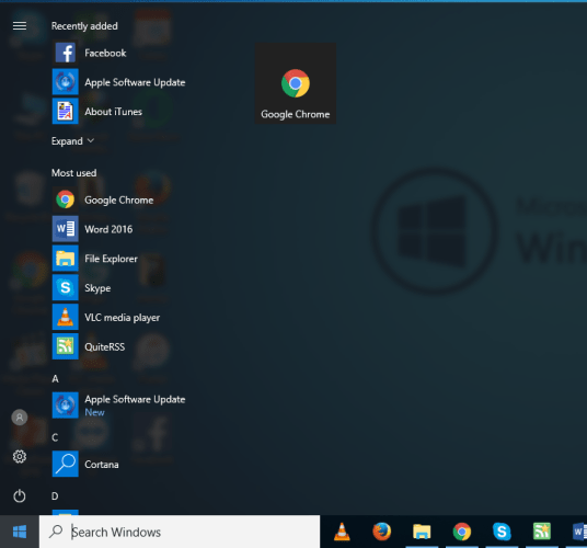 fix start menu and search option is frozen in windows 10 creators update