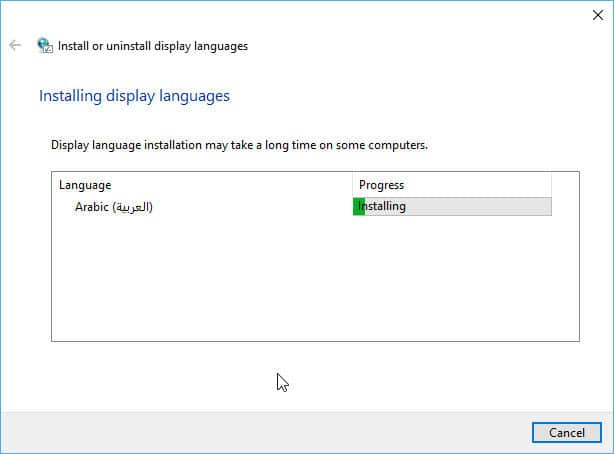 Installing the language pack