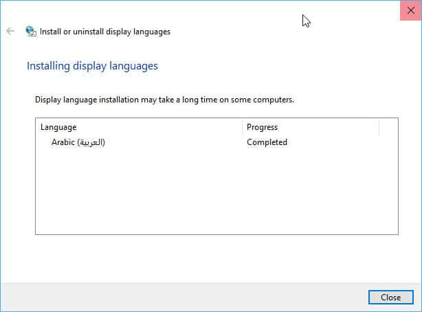 Language pack installed successfully