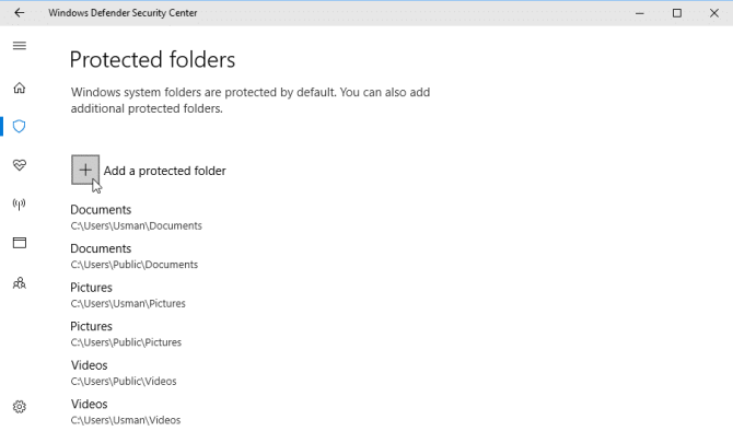 Add a protected folder