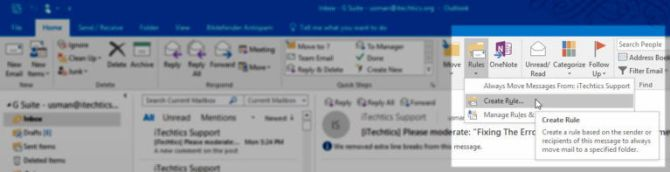 Create new rule in Outlook