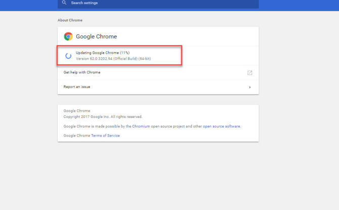 Updating Chrome