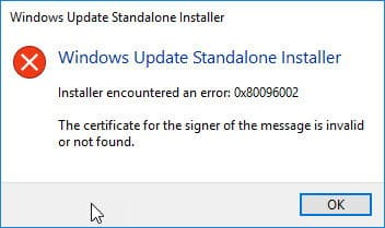 The certificate for the signer of the message is invalid or not found.
