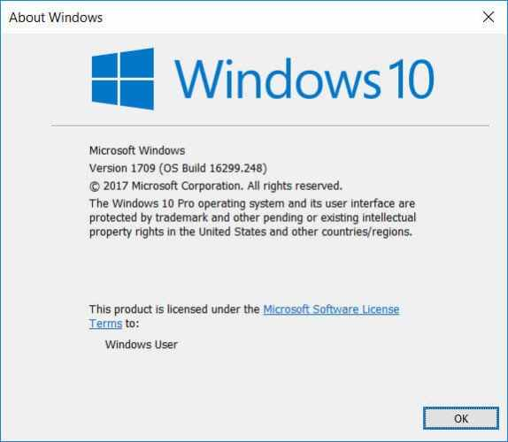 About Windows dialog