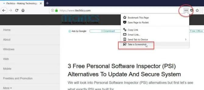 Firefox 59 screenshot feature