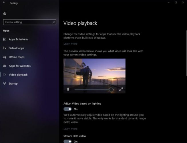 Stream HDR video setting on Windows 10 Spring Creators Update