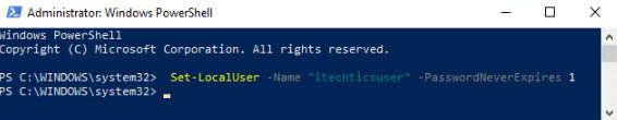 Password never expire for a specific user using PowerShell