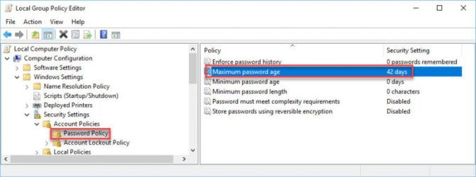 Password policy to disable password expiry policy