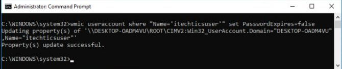 using wmic command to change password settings of a specific user