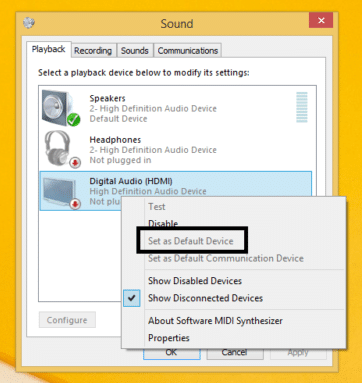 Making an audio device as default in Windows 10