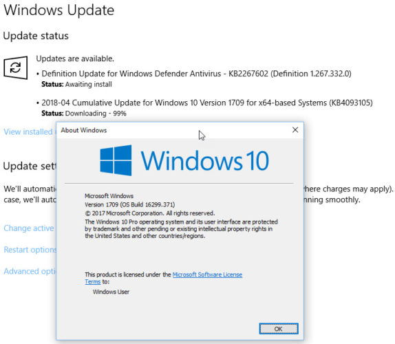 Installing KB4093105 on Windows 10 Version 1709