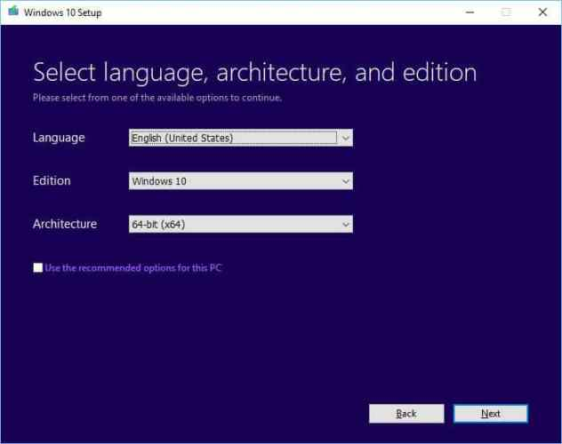 Select language architecture and edition Windows 10 Setup