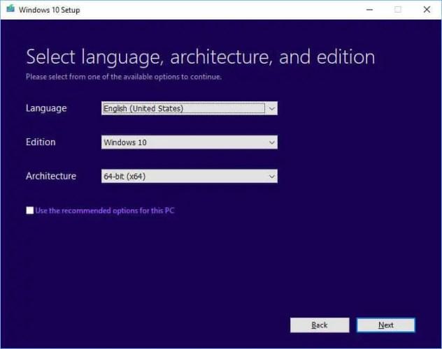 Chọn kiến trúc ngôn ngữ và phiên bản Cài đặt Windows 10