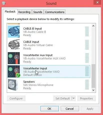 VoiceMeeter Input default