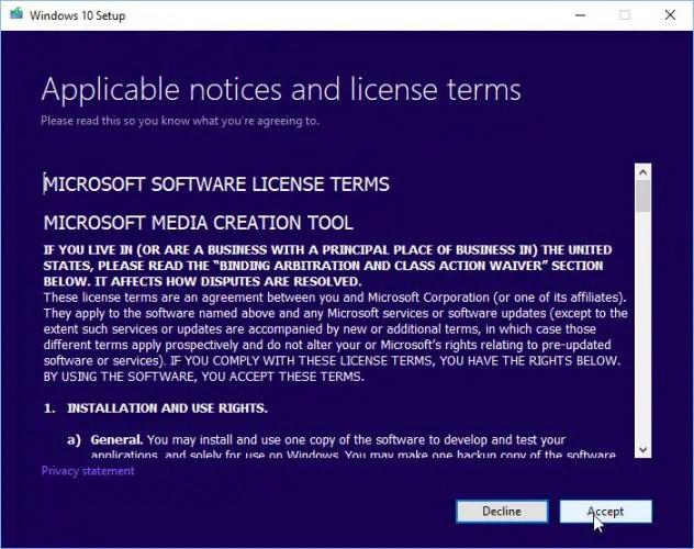 Windows 10 Media Creation Tool license agreement