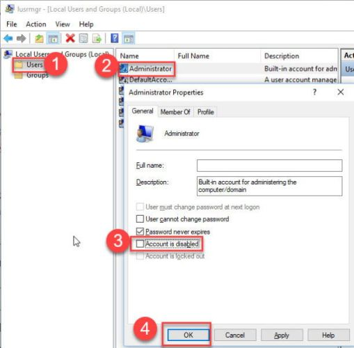 Enable administrator account in Windows 10