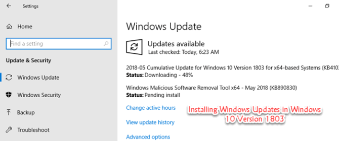 Installing Windows Update KB4100403 in Windows 10 Version 1803