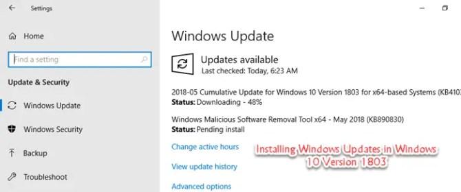 Funktionsupdate für windows 10 version 1803 hängt