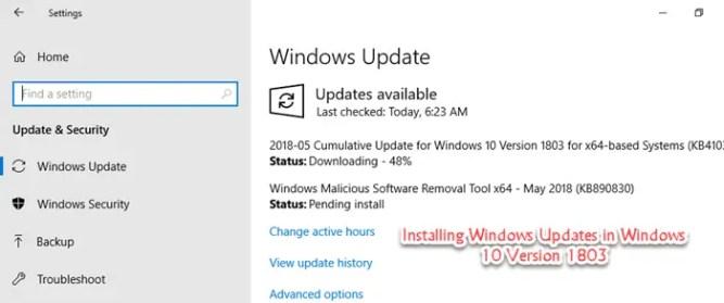 version 1803 windows
