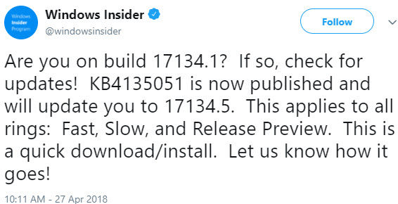 Windows Insider Twitter announcement about KB4135051