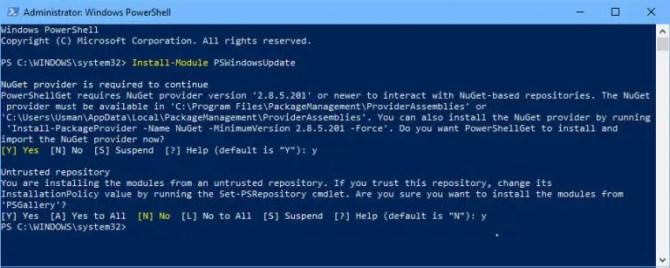Install Module PSWindowsUpdate