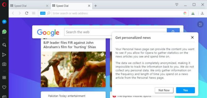 Opera Speed Dial news personalization