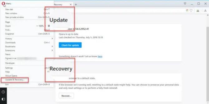 Opera Update Recovery