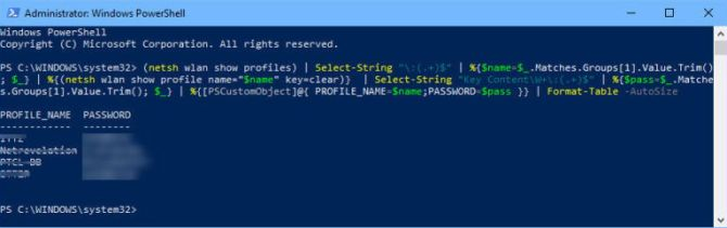Show Wifi passwords of all saved networks using PowerShell