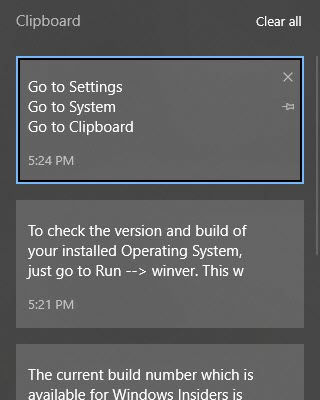 Clipboard history in Windows 10 Version 1809