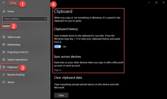 Clipboard settings Windows 10 Version 1809