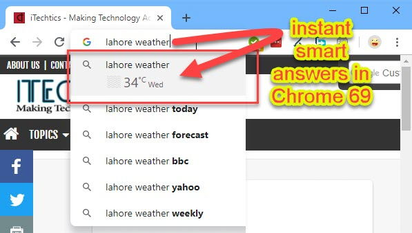 instant smart answers in Google Chrome 69
