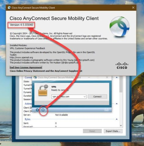 Checking version of Cisco AnyConnect Secure Mobility Client