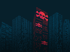 Ransomware buildings with binary code and scull and crossbones