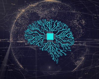 Brain-shaped circuit board symbolizing artificial Intelligence and its impact on cybersecurity.