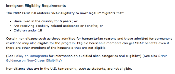 Food Stamps For Immigrants