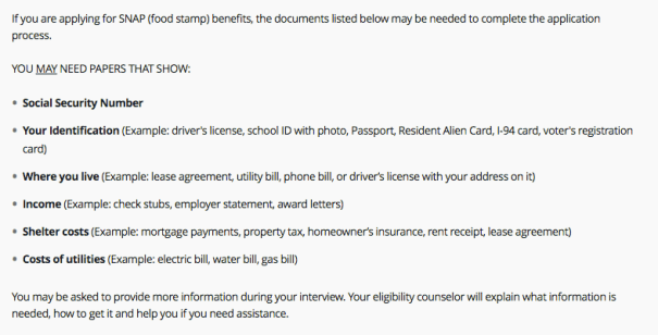 """Tennessee food stamps application documents"""