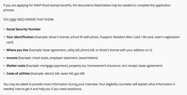 """""""Tennessee food stamps application documents"""""""