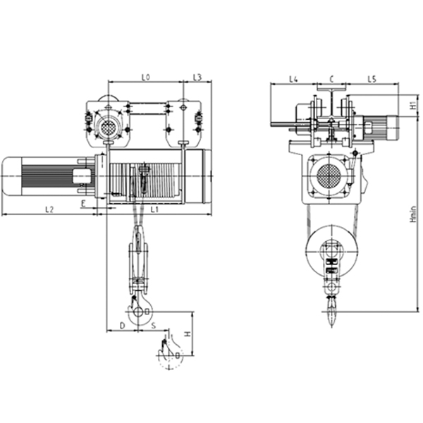 Electromagnetic Brake Motor Electric Hoist With Trolley 2