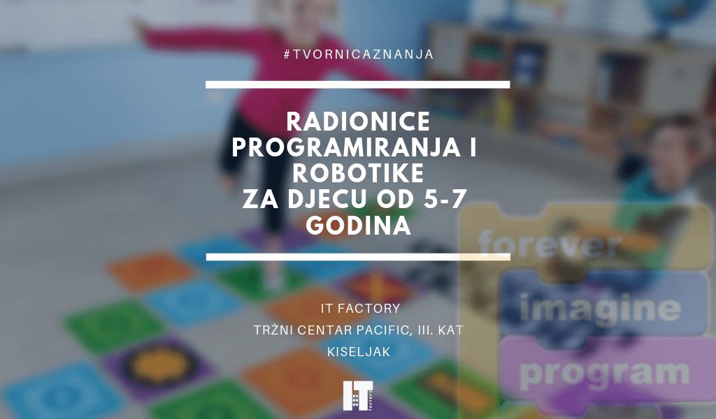 Radionice robotike i programiranja za djecu od 5 do 7 godina