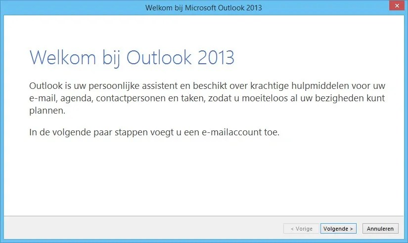 E-mail instellen in Outlook 2013, afb. 1