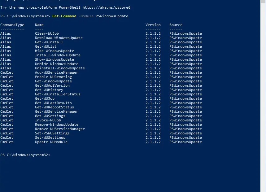 PSWindowsUpdate Available Cmdlets